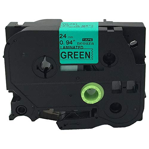 """Black on Green Label Tape Compatible for Brother TZ TZe 751 TZ-751 TZe-751 24mm P-Touch 8m 1""""x26.2'"""