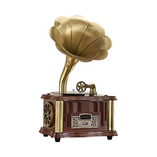 JIE KE Carillon Altoparlante Wireless Phonograph Giradischi, con aux-in, Radio FM, Porta USB per Flash Drive, grammofono Stile Vintage retrò (Color : B)