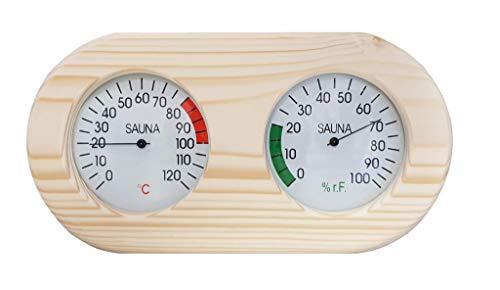 Sauna Klimamesser Messstation mit Thermometer + Hygrometer im Holzrahmen