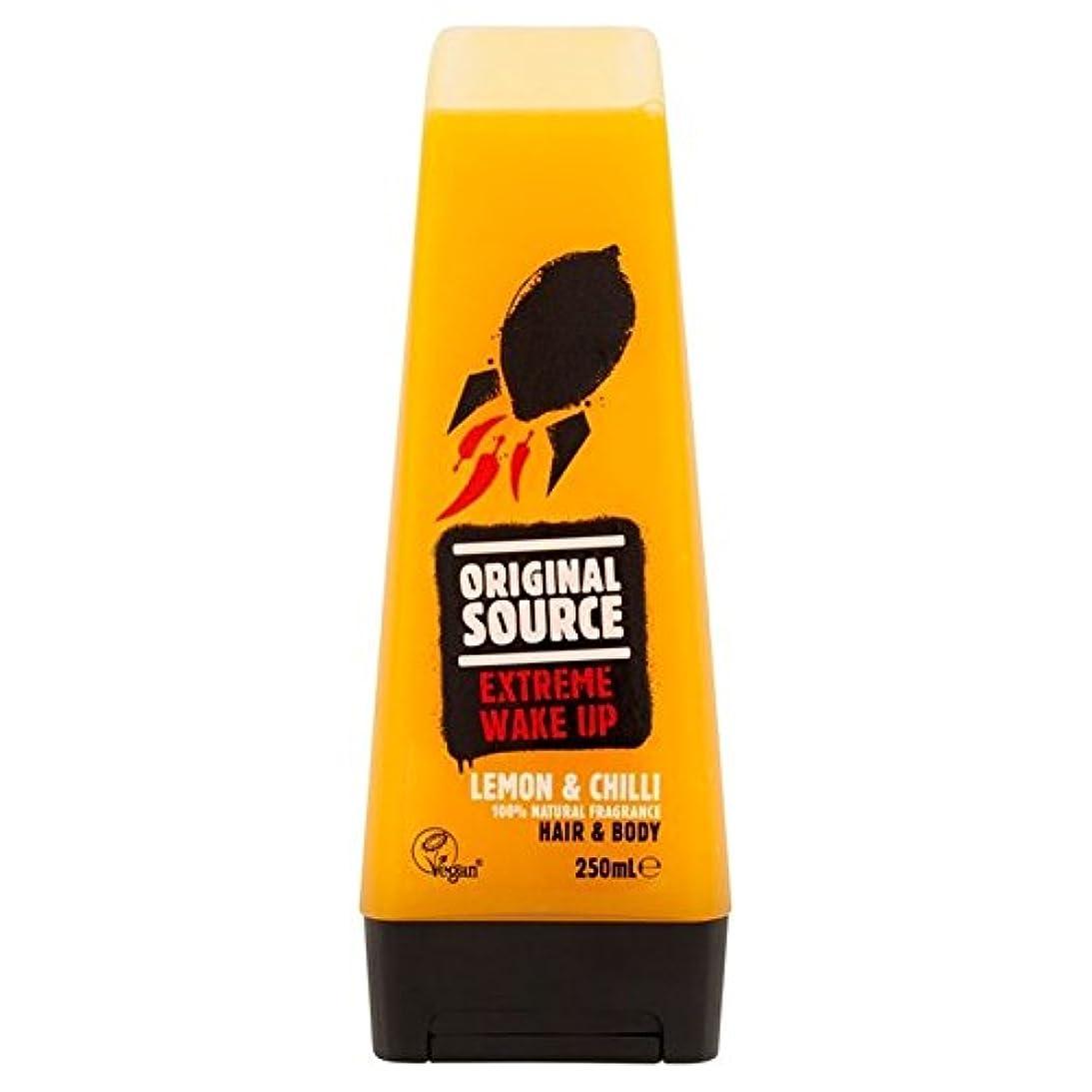 魔法意欲保守的元のソースは、レモン&チリヘア&ボディシャワージェル250ミリリットルメンズ x4 - Original Source Mens Lemon & Chilli Hair & Body Shower Gel 250ml (Pack of 4) [並行輸入品]