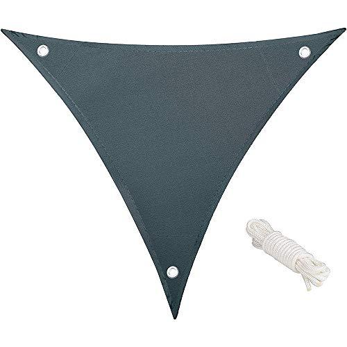 Shang gu Voile d'ombrage Triangulaire,Matire Impermable Lavable Triangulaire Taille 3 X 3 X 3 m Auvent Aver Anti-UV Protection Et Cordes de Fixation Densit 150g par m pour Jardin Terrasse Balcon, Gris