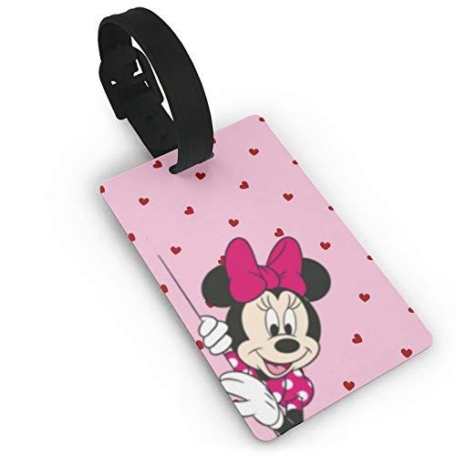 DNBCJJ Etiquetas de equipaje para maletas Minnie Mickey Mouse es linda etiqueta de equipaje, con nombre ID maleta para mujeres, hombres, niños, accesorios de viaje