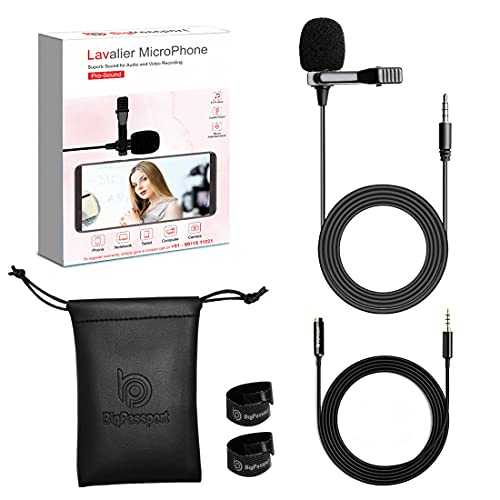 BigPassport Lavalier Microphone with Extension Cable 12 Ft and Soft Leather Pouch | 3.5MM portable recording microphone for Mobile, Computer, Laptop, DSLR (Pro-Sound M141)