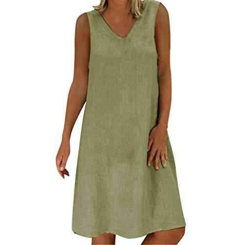 URSING Plus Size Damen Kleid Sommerkleid aus Leinen Beiläufig Baumwolle T-Shirtkleid Freizeitkleid Strand Kleider Urlaub Tunika Langes Shirt Lose Kleider Minikleid