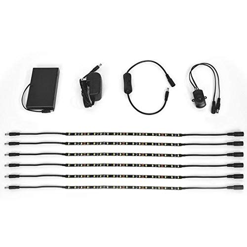 Gun Storage Solutions Light Kit, 6 LED Strip Lights for Gun Storage in Safes, Under Cabinets, or on Shelves, Motion Activated LED or Manual Off/On Switch