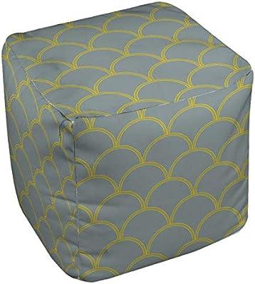 Amazon Com E By Design Fg N1 Omar White 18 Geometric Pouf Furniture Decor