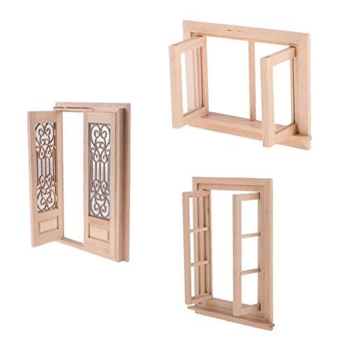 perfeclan 1/12 Doll House Furnishings Miniatur Zubehör, Doppeltürige Fenster Und Türen Holz Unbemalt Modell Für Jeden Raum Dekor