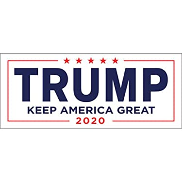 MAGNET Donald Trump For President 2020 White Bumper Sticker Keep Make America Great Size: 3.5x8.5 Inches