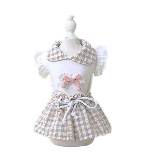 AMURAO Plaid Dog Princess Dress Summer Bow-Knot Gonna da Compagnia Cucciolo Piccolo Abbigliamento per Gatti Camicia con Cappuccio in Cotone