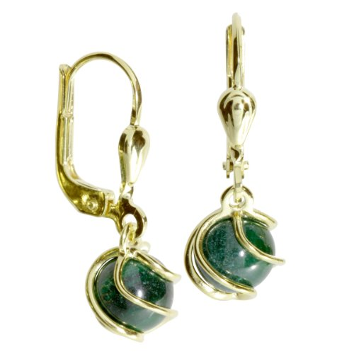 InCollections Damen-Ohrhänger 333/000 Gold mit Malachit 0060160102401