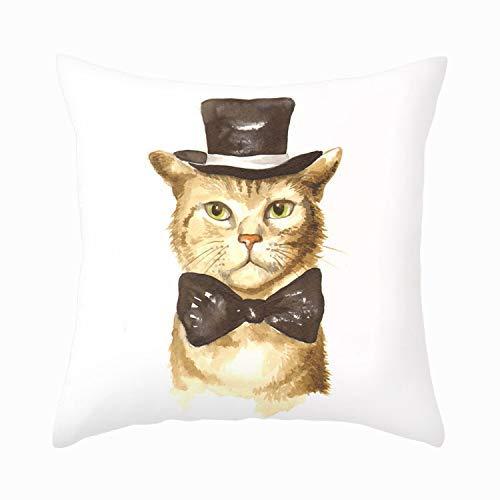 Precioso Gatito Gato con Sombrero Funda Almohada súper Suave Funda cojín Funda Almohada 18 '(Cat-G)