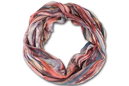 fashionchimp ® Loop Schlauchschal für Damen mit All-Over-Muster im Batik Style, Crash and Crinkle, Seide (Rost)