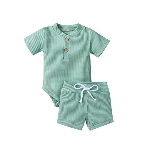 Luckyfashion Pasgeboren Baby Jongen Meisje Zomer Kleding RibbedRompers Bodysuits Tops+Korte Broek 2 STKS Outfits Set Peuter Kleding, Bean Groen B, 0-3 Maanden