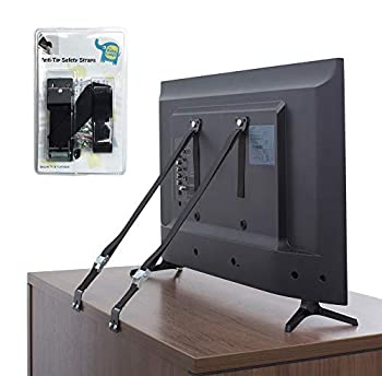The Baby Lodge TV and Furniture Anti Tip Straps - Safety Furniture Wall Anchors for Baby Proofing Flat Screen TV Dresser Bookcase Cabinets and More - All Metal No Plastic Parts  2 Pack Black