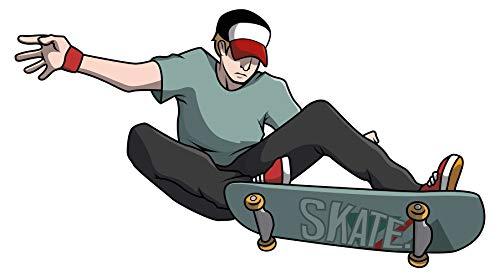 Wandtattoo Jugendzimmer Wandsticker Skateboard Junge in cooler Sprung Pose bunt