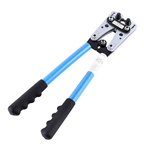 Alicates de Crimpado, Alicate Hexagonales Pelacables Automático para Pelar/Cortar/Presionar para Cable de 6-50mm²Longitud 390mm, 22-10 AWG