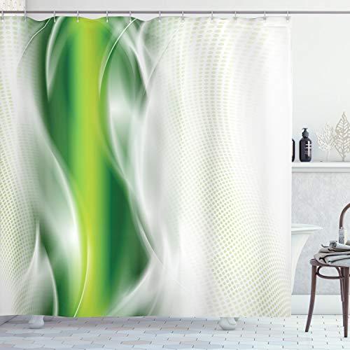 ABAKUHAUS Abstrakt Duschvorhang, Coole gewellte Blumen, mit 12 Ringe Set Wasserdicht Stielvoll Modern Farbfest & Schimmel Resistent, 175x220 cm, Dunkelgrün Weiß & Grün