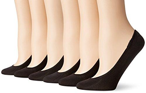 PEDS Women's Essential Low Cut No Show Socks, 6 Pairs, Black, Shoe Size: 8-12