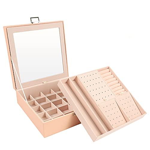 Tikea Joyero Grande, Estuche Joyas de Almacenamiento, 26x26x9cm, 2 Capas Caja de Joyas con Espejo, Organizador de Joyas para Anillo de Pendientes Collar Pulsera