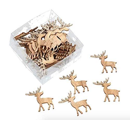 AmaCasa Streuteile Hirsch/Holz/Weihnachten, 48 Stück 4x4x0,5cm Holz | Winter Deko