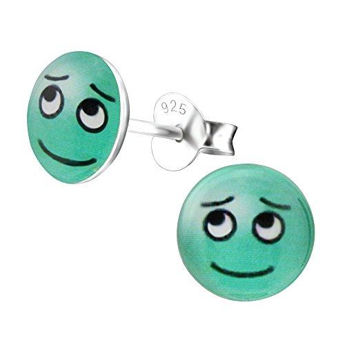 Laimons Kids Pendientes para niña Disco con forma de cara Disco Azul, Verde Plata de ley 925