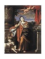 聖アグネスによってドメニキーノ キャンバスプリント、寝室の家の装飾、キャンバスの絵画の写真、オフィスの装飾のためのキャンバスの壁の芸術 45x58cm/18x23inch額無し