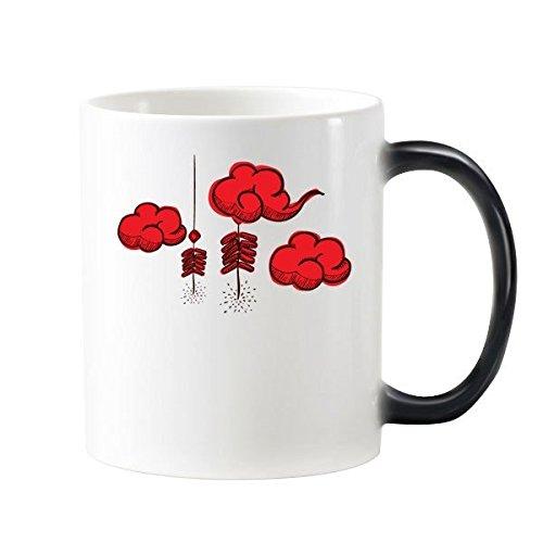 Voetzoekers Chinese sterrenbeeld Gelukkig Nieuwjaar 2017 Jaar van de Haan Patroon Illustratie Morphing Warmte Gevoelige Veranderende Kleur Mok Cup Melk Koffie Met Handvatten 350 ml
