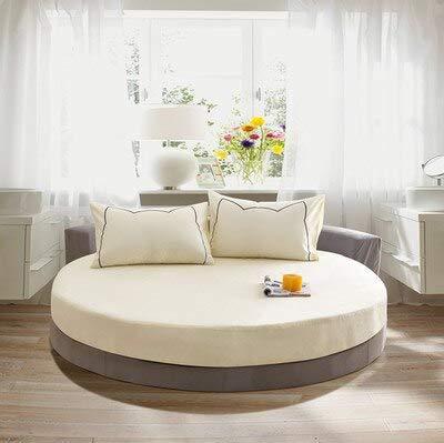 Mhtop Sábana Ajustable elástica de algodón para el hogar, Ropa de Cama Redonda, Funda de colchón de Pareja Doble, 200/220 Cm, Colcha de Color sólido Queen King