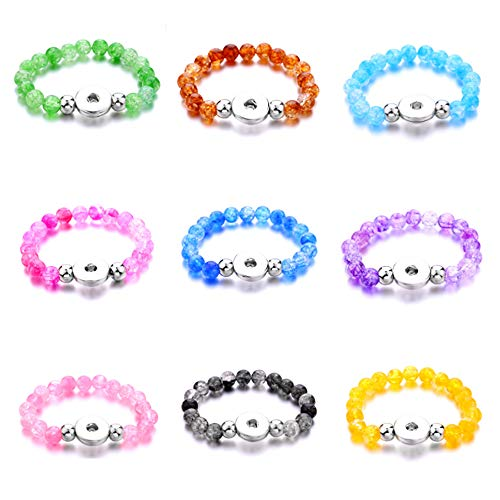 Lovglisten Adjustable Snap Jewelry Bracelet Charms Beaded fit 18mm 20mm Snaps Jewelry Making pack of 6pcs(10)