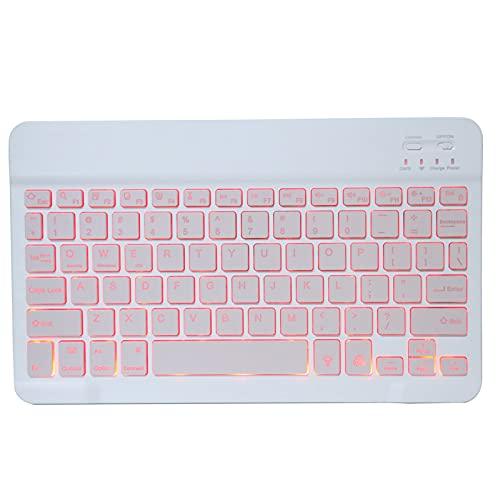 超薄型Bluetooth3.0キーボード、ワイヤレスキーボード7 RGBバックライトキーパッドタイプライター、110mAh充電式バッテリー(タブレット電話デスクトップ用)(10インチピンク)