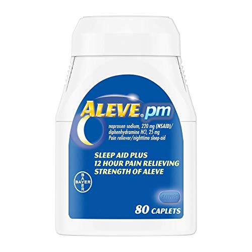 Aleve PM Caplets with Naproxen Sodium, 220mg (NSAID) Pain Reliever/Fever Reducer/Sleep Aid, 80 Count