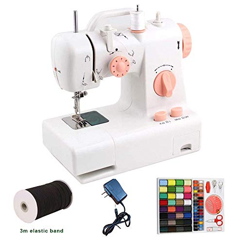 Lowest Price! MAOMAOQUEENss Mini Portable Electric Sewing Machine,2 Speed Dual Line,3m Elastic Band/...