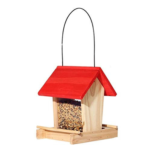 zongshengshop Container Bird Feeder Vogel-Feeder Outdoor Wild Bird Hanging Feeder Regenschutz Holz Balkon Villa Vogel Food Box Vogel Nahrungsmittelbehälter Heavy Duty Seed Feede