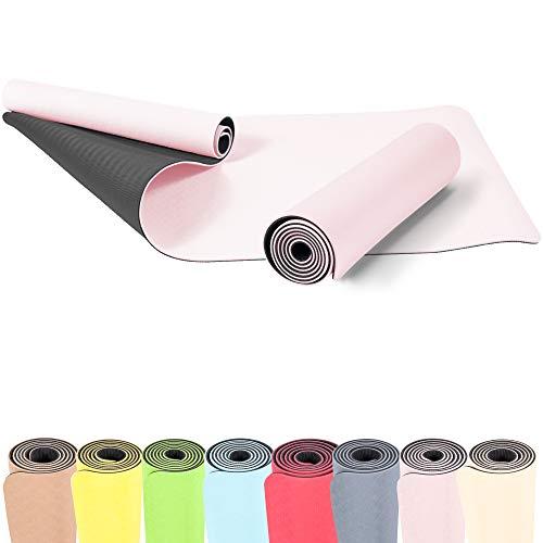 GORILLA SPORTS® Yogamatte 180 x 60 x 0,6 cm TPE rutschfest – Matte für Fitness, Yoga, Pilates, Gymnastik in Pink