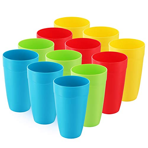 Set of 12 - Kids Cups - 15 oz Kid Cups - Kids Reusable Plastic Cups - Microwave Dishwasher Safe Kids Plastic Cups – BPA Free Cups for Kids- 4 Vibrant Colors - Great For Party & Picnic