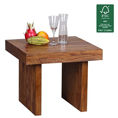 WOHNLING Beistelltisch Massiv-Holz Sheesham 60 x 60 cm Wohnzimmer-Tisch Design dunkel-braun Landhaus-Stil Couchtisch Natur-Produkt Wohnzimmermöbel Unikat modern Massivholzmöbel Echtholz Anstelltisch