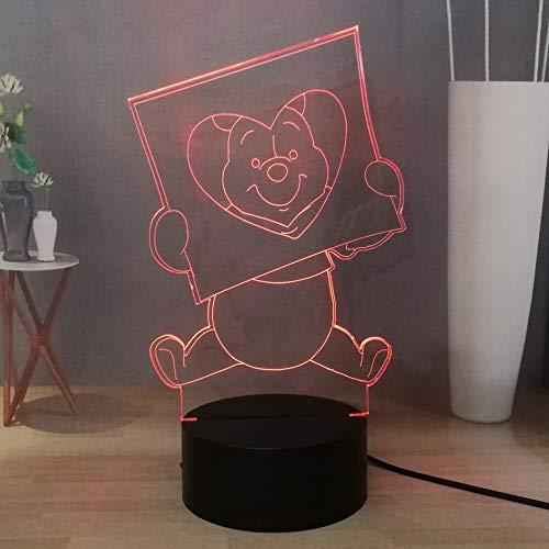 Schönes LED-Nachtlicht Winnie Puuh mit 16 Farben einstellbar, USB Touch-Sensor, 3D visuelle Nachttischlampe für Mädchen, Geburtstagsgeschenk für Kinder