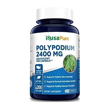 Polypodium Leucotomos Extract 2400mg 200 Veggie Capsules  Vegetarian Non-GMO & Gluten-Free  Supports Healthy Skin and Antioxidant Activity*
