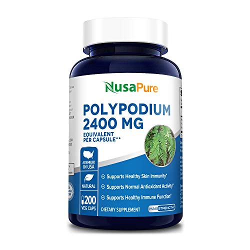 Polypodium Leucotomos Extract 2400mg 200 Veggie Capsules (Vegetarian, Non-GMO & Gluten-Free) Supports Healthy Skin and Antioxidant Activity*