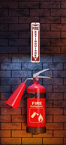 Hillman 844112 White and Red Aluminum Fire Extinguisher Sign with Arrow Symbol, 4