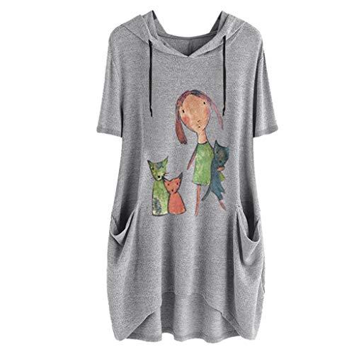 Camiseta con Capucha Mujer Tallas Grandes Camiseta Manga Corta Oreja de Gato Sudadera Capucha Basica Cartoon Blusas Original Bolsillo Suelto Estampado Tops Casual Fiesta(Gris B,XXXL)