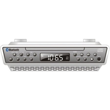 Sylvania FM Bluetooth Wireless Under Counter Kitchen CD Player Radio Speaker System