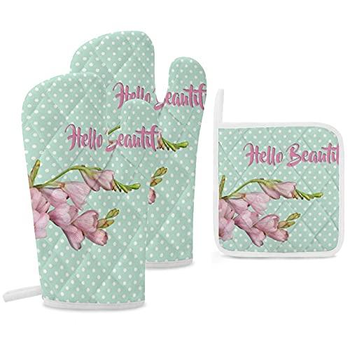 Juego de 3 soportes para ollas y guantes de horno, resistentes al calor, para cocinar y hornear, flores de cerezo modernas, verde menta Hello Beautiful