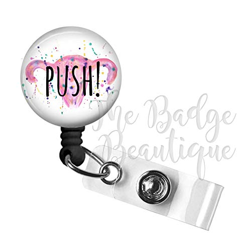 Labor & Delivery Push Retractable ID Badge Reel, Swivel Alligator Clip, 34in. Nylon Cord, Medical MD RN Nurse Badge ID, Badge Holder, ID Badge Pull, L&D Nurse, Name Tag