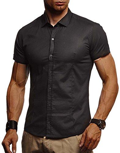 Leif Nelson LN3520 Chemise blanche pour homme Coupe ajustée Manches courtes Noir stretch Chemise de loisirs pour garçon Chemise d'été Business Loisirs Party, Noir , M