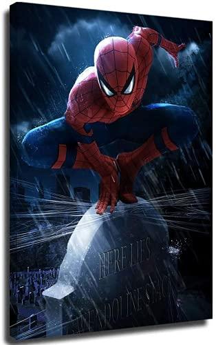 NFBZ Spider Man Poster décoratif sur Toile Affiche Decoration Murale pour Chambre à Coucher, Maison, Style rétro, Bar, café (with Frame,16X24inch(40X60cm))