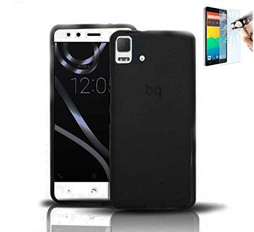 Todobarato24h Funda TPU Lisa Compatible con BQ AQUARIS E5 HD FHD Negra + Protector DE Cristal Templado