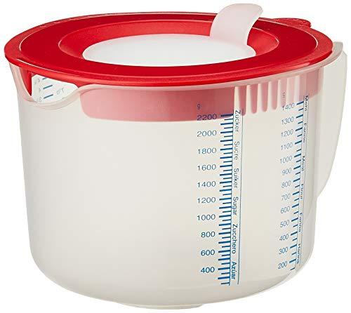 Leifheit 3in1 Messbecher 2,2L Rührbecher mit Sprützschutz und Verschlussdeckel zum Aufbewahren, mit verstellbarem Ausguss, gummierter Boden, spülmaschinengeeignet, ideal zum Backen und Kochen
