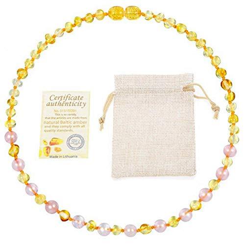 Collar de ámbar báltico Original para Mujer de Cristal Rosa + Pulsera de ámbar Dorado Regalo - 8 tamaños Disponibles-Collar de de 33cm