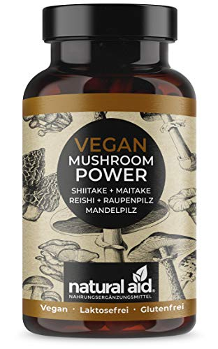 Vegan Mushroom POWER - Shiitake + Maitake + Reishi + Raupenpilz + Mandelpilz - 90 Kapseln (ca. 3 Monats-Vorrat), speziell für eine vegane/vegetarische Ernährung, hergestellt in Deutschland